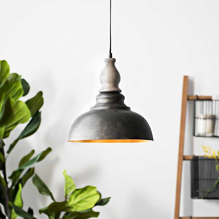 Gray And Bronze Rustic Pendant Light