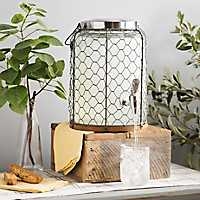 Chicken Wire and Wood Accent Beverage Dispenser