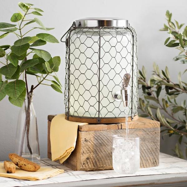 Chicken Wire and Wood Accent Beverage Dispenser