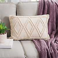 Ivory Diamond Loop Accent Pillow