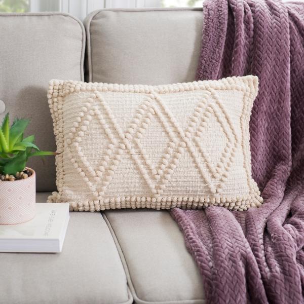 Ivory Diamond Loop Accent Pillow