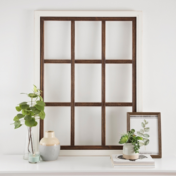 White Wood Windowpane Wall Plaque