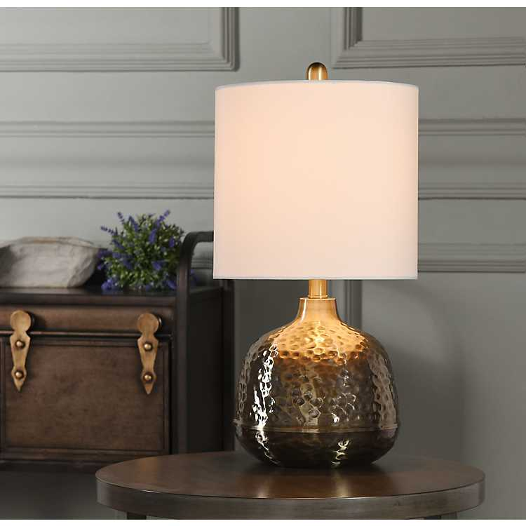 Hammered Br Accent Table Lamp