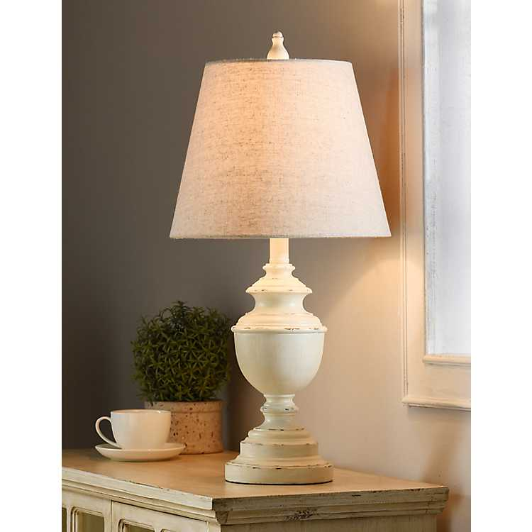 White Farmhouse Accent Table Lamp