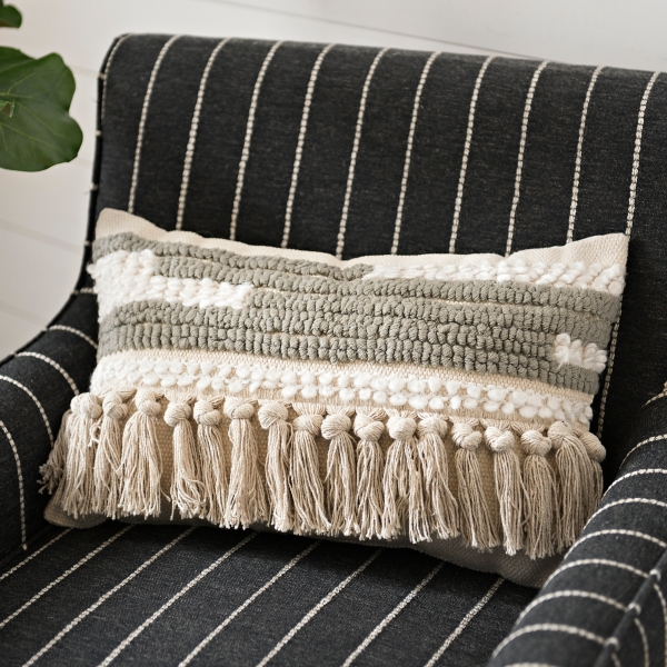 Gray and Ivory Fringe Knot Border Accent Pillow