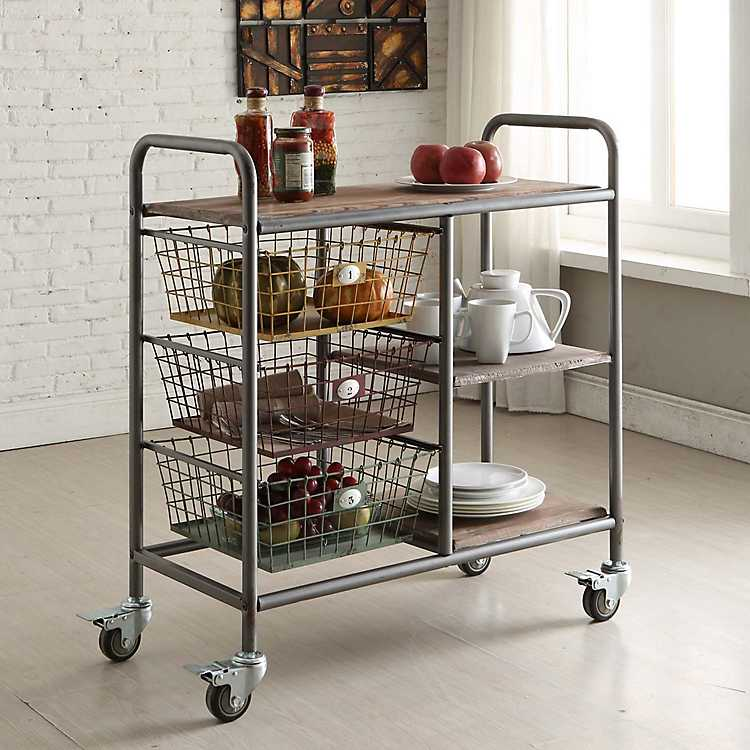 Urban Metal Frame Kitchen Cart on Wheels