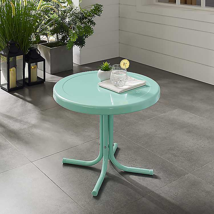 Merveilleux Product Details. Aqua Retro Metal Outdoor Side Table