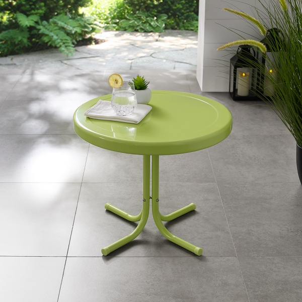 Tremendous Key Lime Retro Metal Outdoor Side Table Kirklands Download Free Architecture Designs Viewormadebymaigaardcom