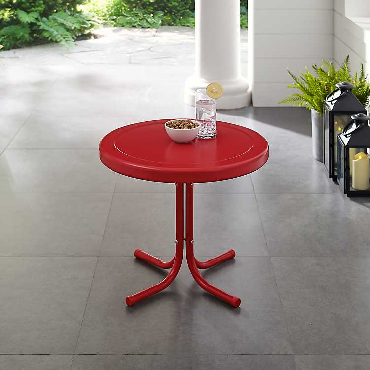 C Red Metal Outdoor Side Table