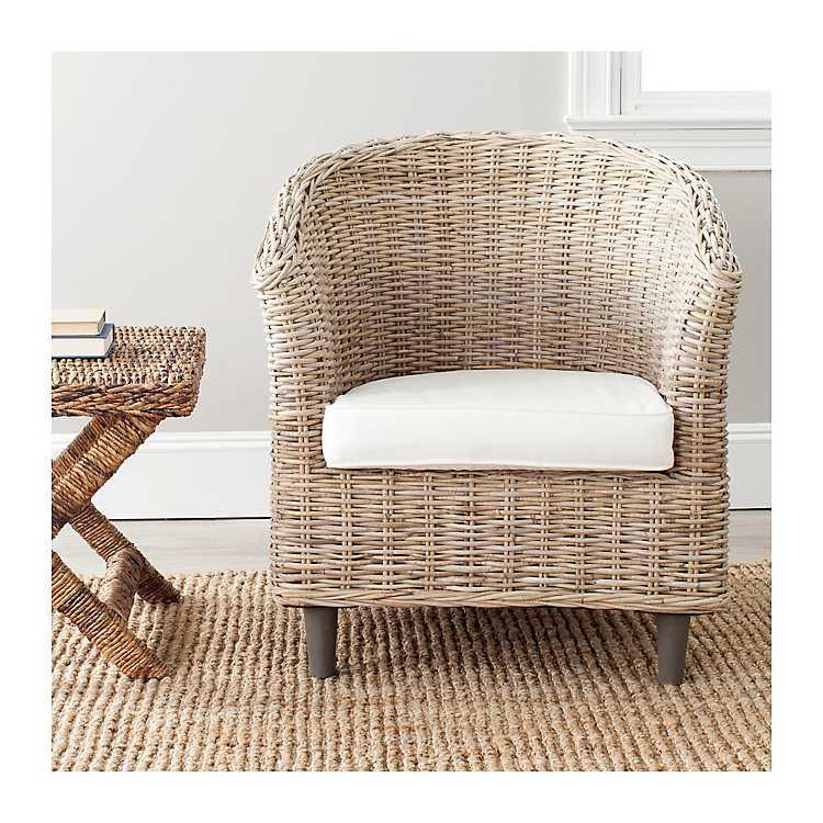 Stupendous Natural Omar Rattan Barrel Accent Chair Short Links Chair Design For Home Short Linksinfo