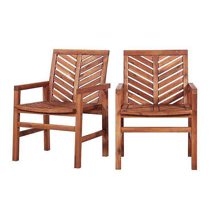 Brown Acacia Wood Chevron Dining Chairs