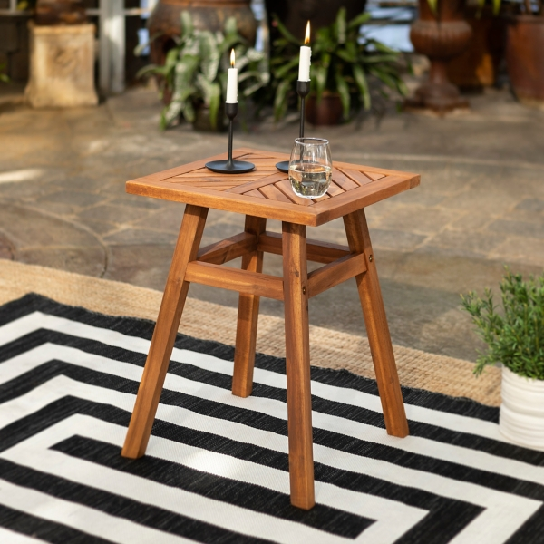 Brown Acacia Wood Chevron Accent Table
