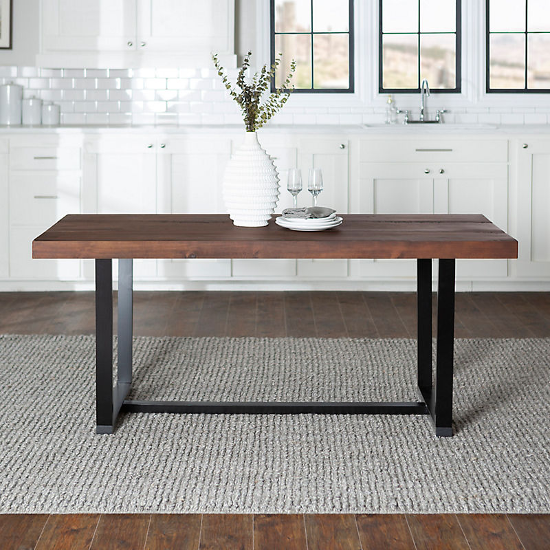Mahogany Distressed Solid Wood Dining Table