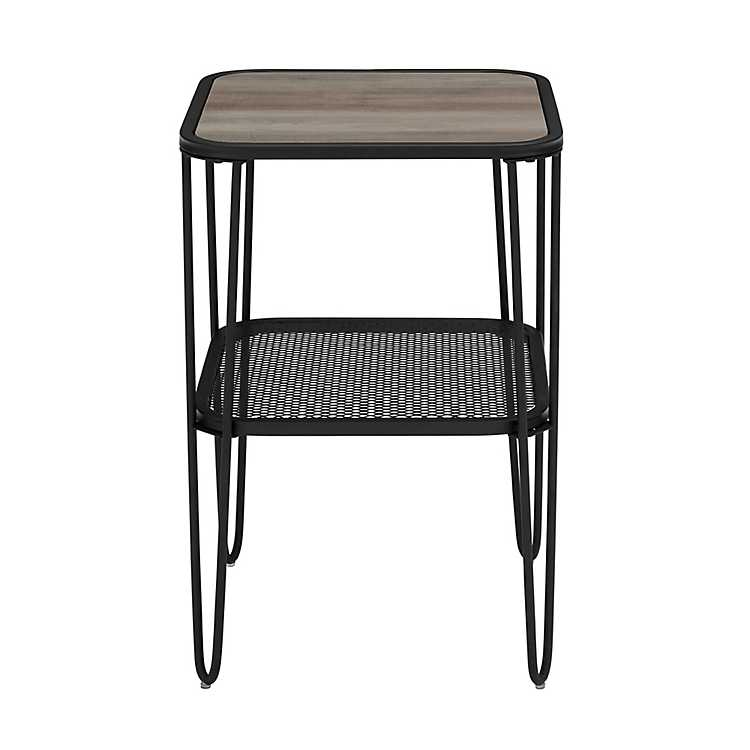 Gray Wash Mid Century Modern Accent Table