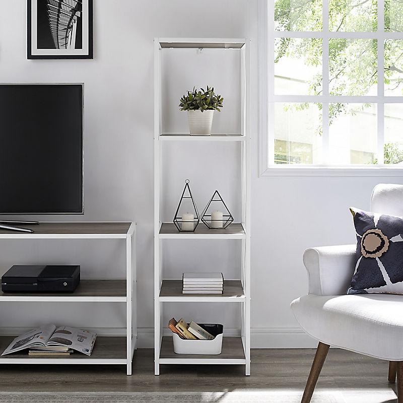 Gray Wash Tall Industrial X Frame Bookshelf