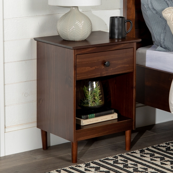 Walnut One-Drawer Wood Nightstand