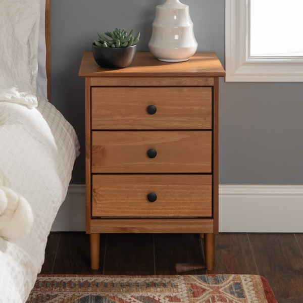 Caramel 3-Drawer Wood Nightstand