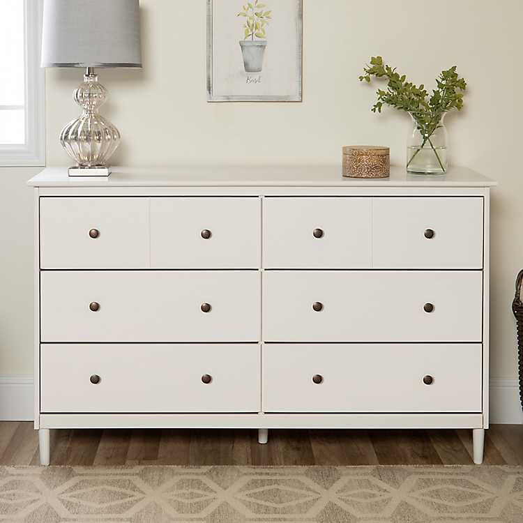 White Solid Wood 6 Drawer Dresser Kirklands