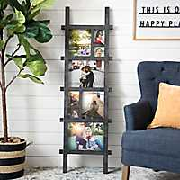 Black Leaning Ladder Picture Frame Collage