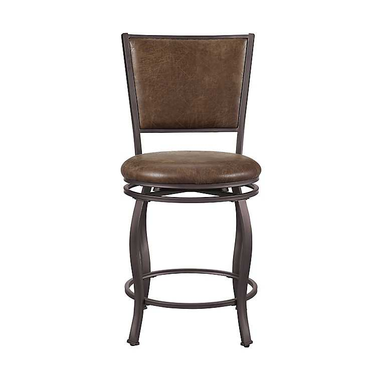 Fabulous Brown Jameson Faux Leather Swivel Counter Stool Ncnpc Chair Design For Home Ncnpcorg