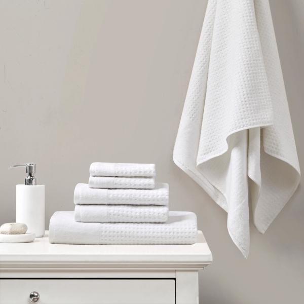 White 6-pc. Waffle Cotton Bath Towel Set