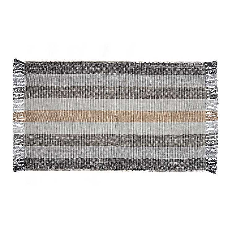 Striped Woven Cotton Accent Rug