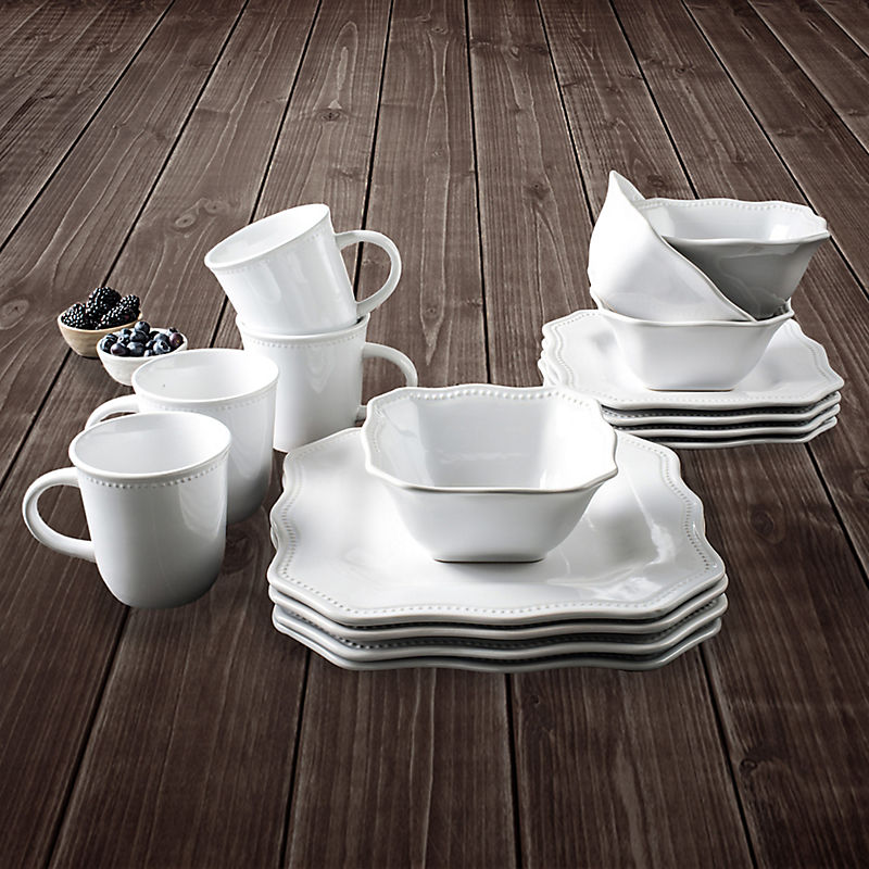 White Felicia 16-pc. Dinnerware Set