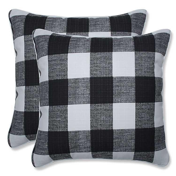 Black Buffalo Check Outdoor Pillows Set Of 2