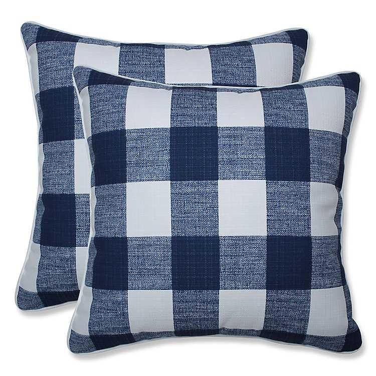Outdoor Pillows Set Of 2.Navy Buffalo Check Outdoor Pillows Set Of 2