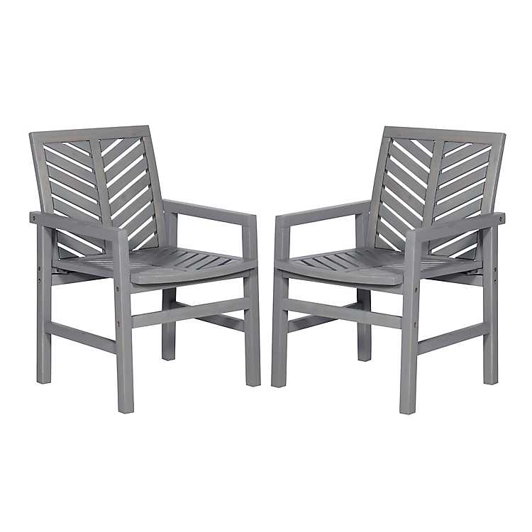 Tremendous Gray Wash Acacia Wood Chevron Chairs Set Of 2 Bralicious Painted Fabric Chair Ideas Braliciousco