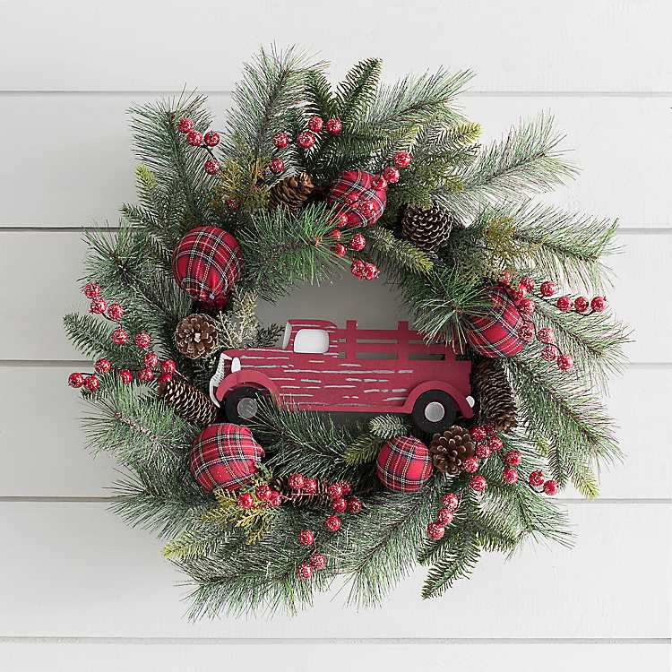 Red Truck And Ornaments Wreath
