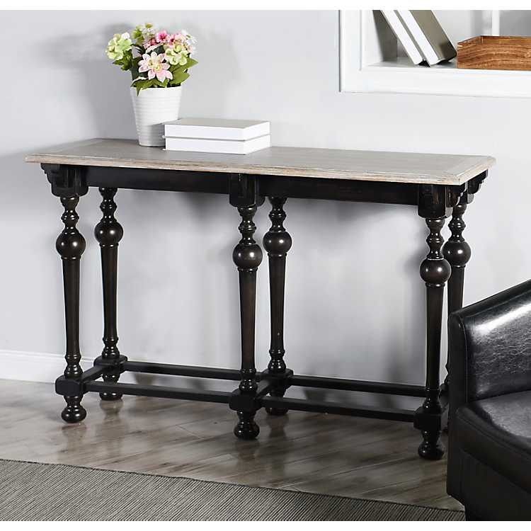Farmhouse Black Console Table With White Top