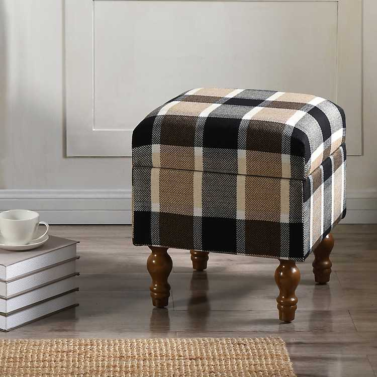 Superb Black Tan And White Plaid Storage Ottoman Machost Co Dining Chair Design Ideas Machostcouk