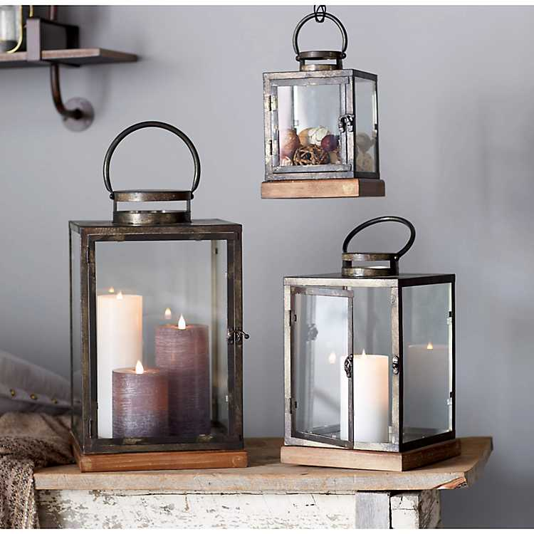 Antique Silver With Wood Base Lanterns