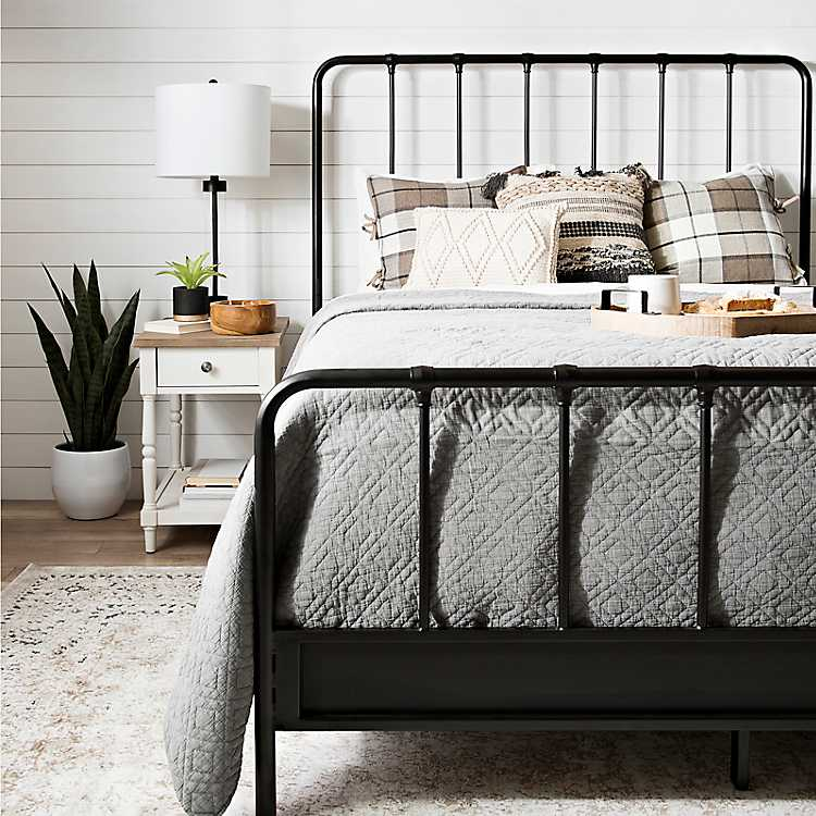 Black Metal Farmhouse Queen Bed Frame