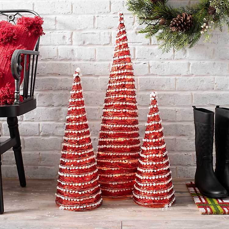 Pre Lit Led Red Tinsel Christmas Trees Set Of 3
