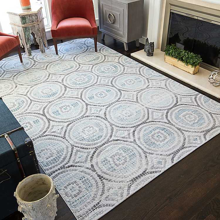 Ivory Mercer Mosaic High Low Area Rug
