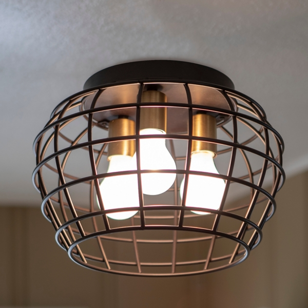 Black Steel Grid Cage 3-Light Flush Mount Fixture
