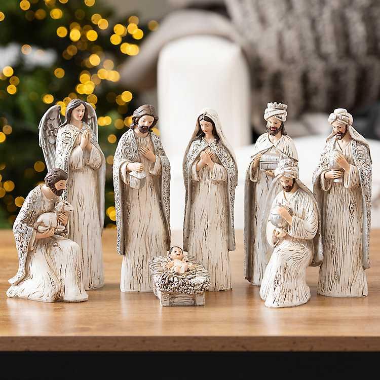 Gray And White 8 Pc Nativity Statue