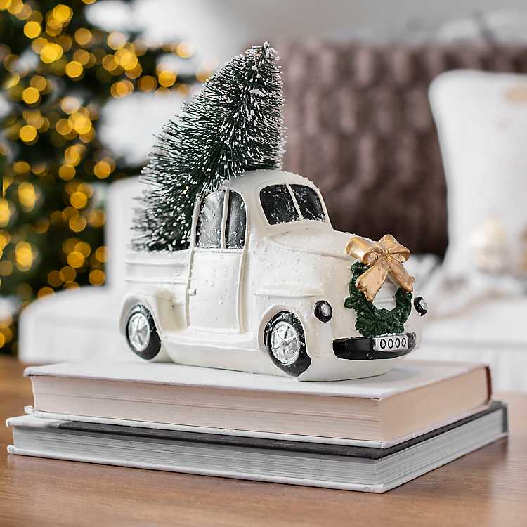Pre Lit White Truck And Christmas Tree Statue