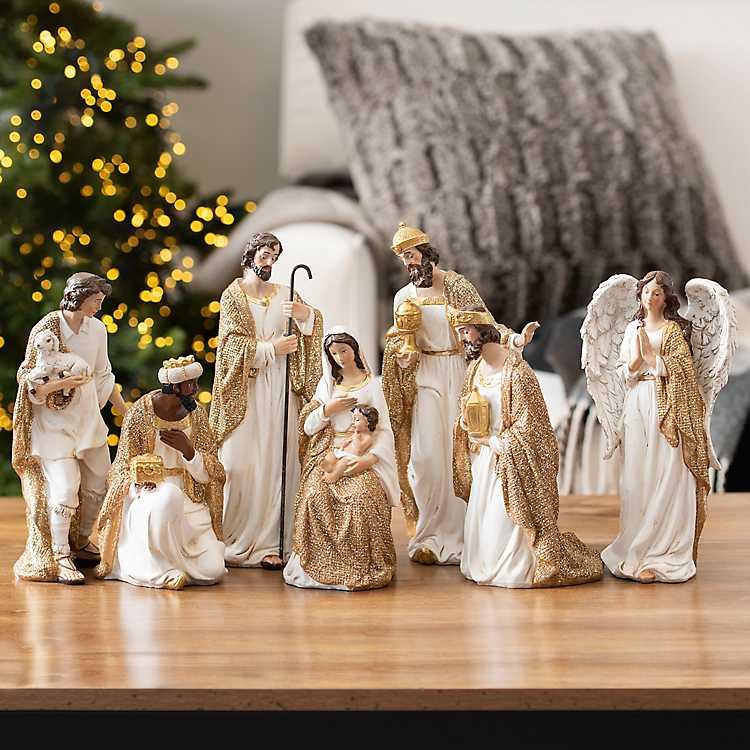 Cream And Gold Christmas Nativity Scene