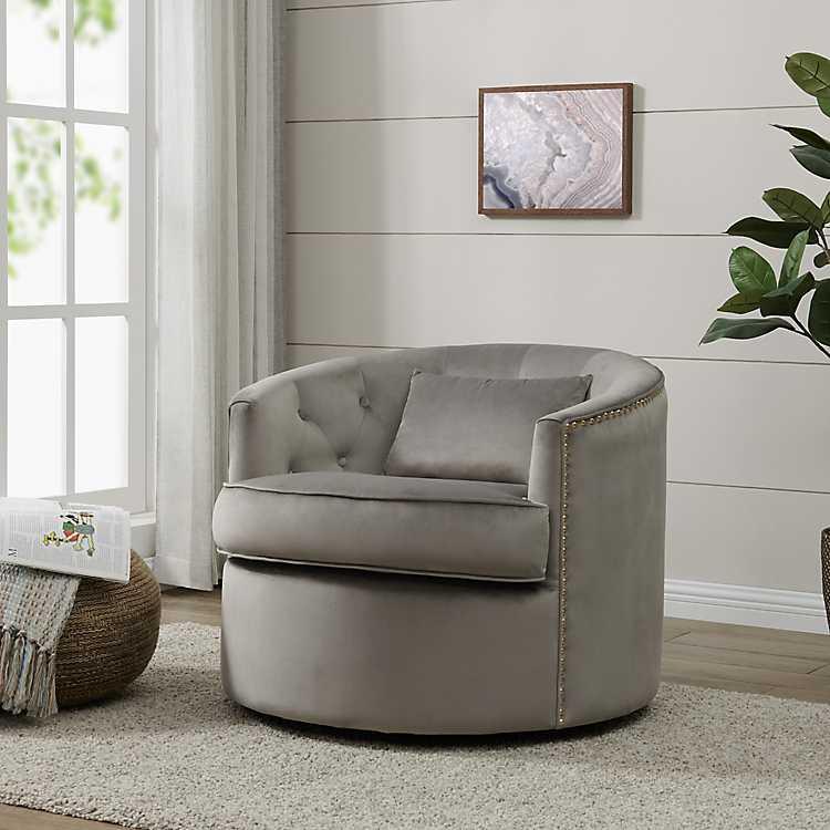 Remarkable Gray Velvet Mabel Tufted Swivel Accent Chair Ibusinesslaw Wood Chair Design Ideas Ibusinesslaworg