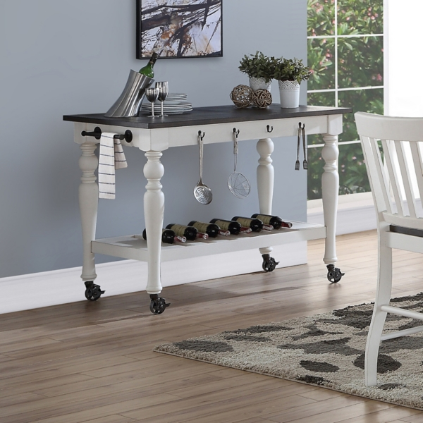 Two Tone Jules Kitchen Cart With Casters Kirklands