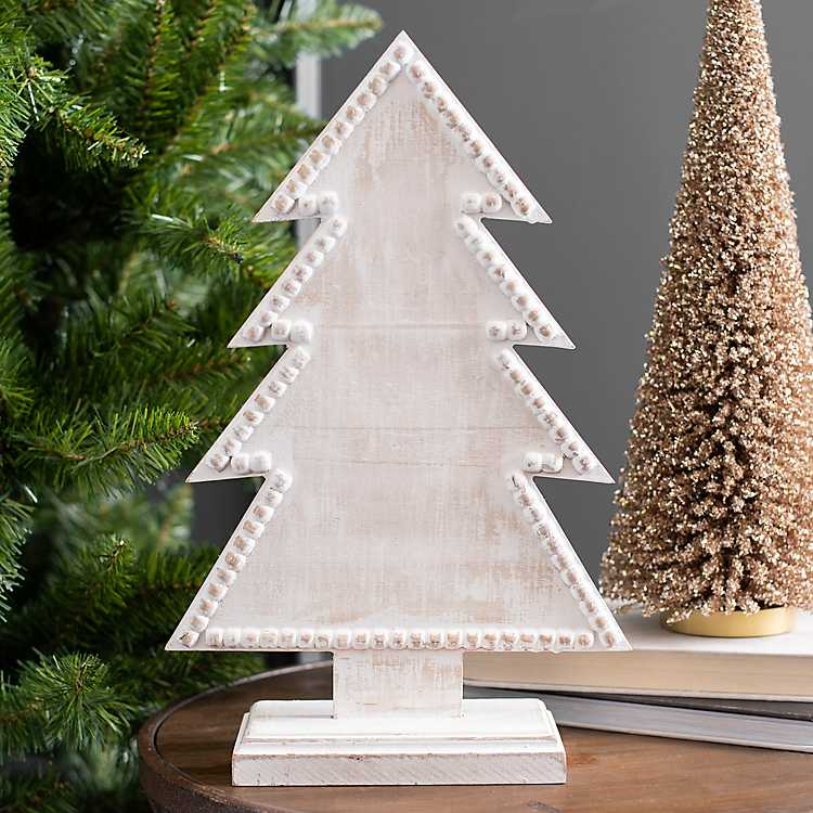 White Wooden Christmas Tree, 12 in