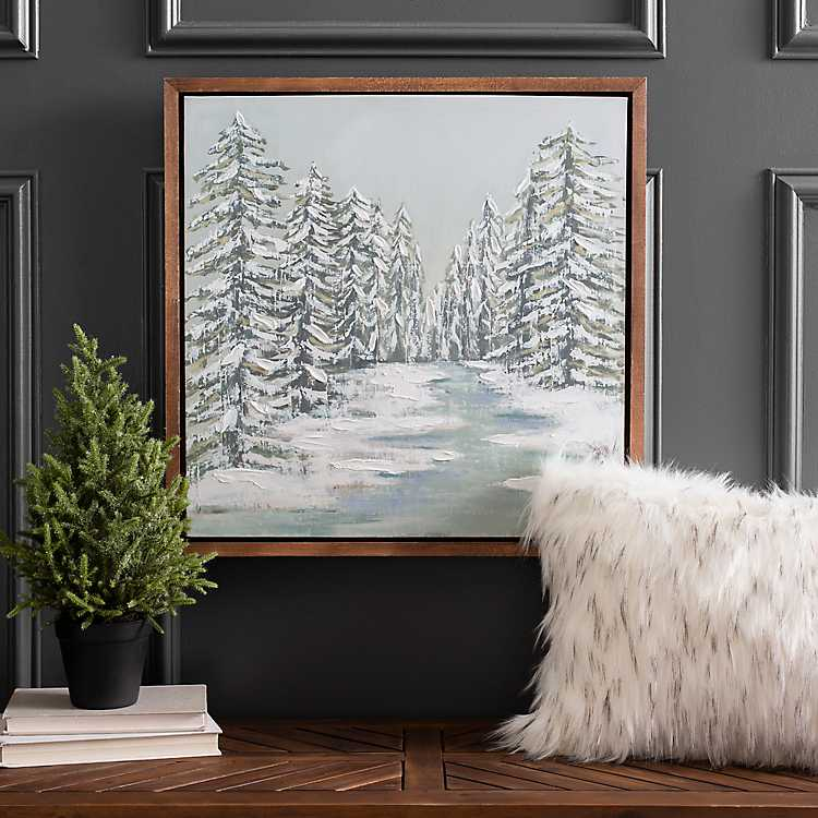 Landscapes Snowy Forest SINGLE CANVAS WALL ART Picture Print VA