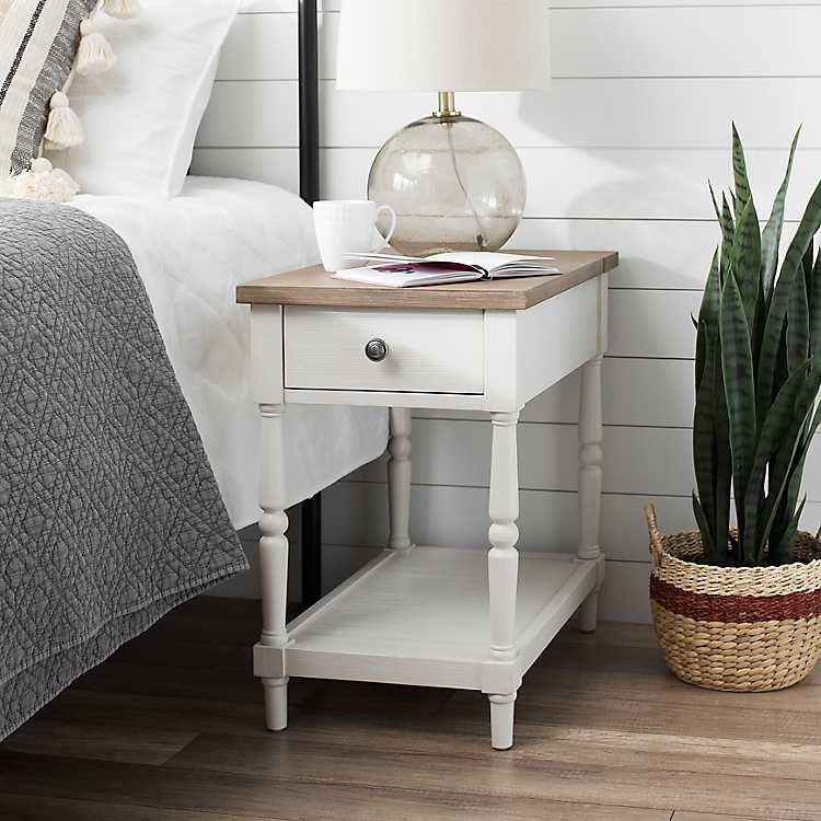 White Nightstand With Charging Station