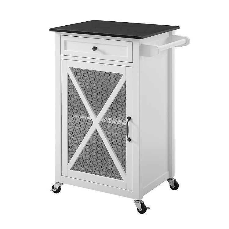 White Wood Chicken Wire 1-Door Kitchen Cart