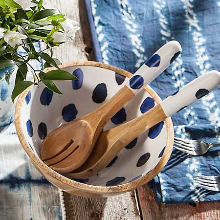 Meridian Mango Wood Serving Bowl with Spoons