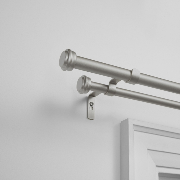 Matte Silver Topper Double Curtain Rod