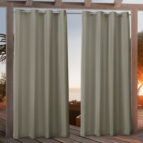 Khaki Nicole Outdoor Curtain Panel Set, 96 in.